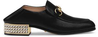 Gucci Horsebit leather loafer with crystals