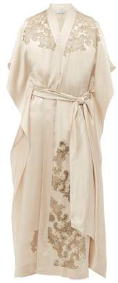 Carine Gilson Lace Trimmed Silk Satin Robe - Womens - Cream