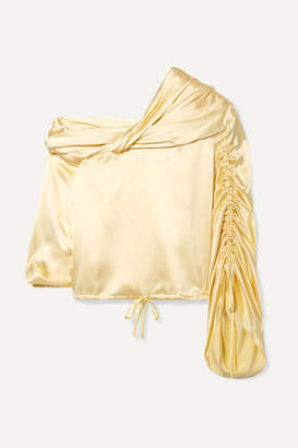 Hellessy Sunshine Draped Asymmetric Silk-charmeuse Blouse - Pastel yellow