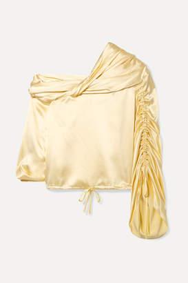 fc62699f0cb8e Hellessy Sunshine Draped Asymmetric Silk-charmeuse Blouse - Pastel yellow