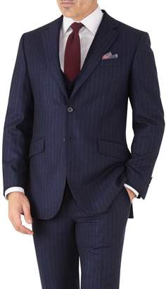 Charles Tyrwhitt Navy Stripe Slim Fit Flannel Business Suit Wool Jacket Size 38