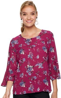 Elle Women's Woven Bell Sleeve Blouse