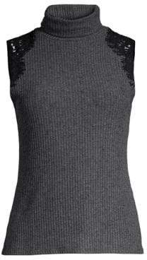 Generation Love Women's Colette Lace Turtleneck Top - Charcoal - Size Small
