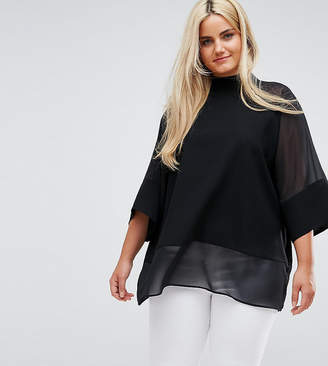 Asos Design Curve Sheer And Solid Oversize Tee
