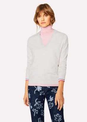 Paul Smith Women's Ecru V-Neck Wool Sweater