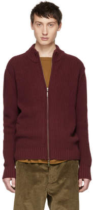 Editions M.R Burgundy Jean Louis Zip-Up Sweater
