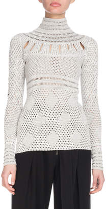 Proenza Schouler Turtleneck Long-Sleeve Crochet Knit Sweater