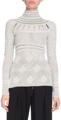 Turtleneck Long-Sleeve Crochet Knit Sweater