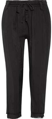Haider Ackermann Frayed Cotton-Twill Track Pants