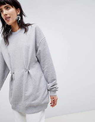 Asos 100% Organic Cotton Sweat Top with Gather Detail