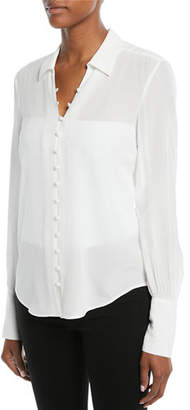 L'Agence Naomi Button-Front Silk Blouse