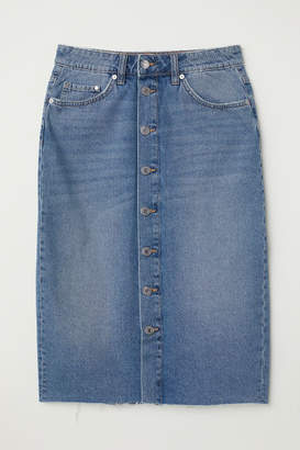H&M Knee-length Denim Skirt - Blue