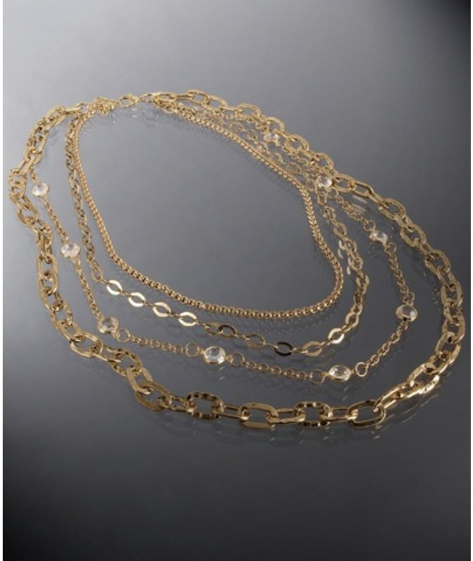 Kenneth Jay Lane gold layered multi-chain necklace