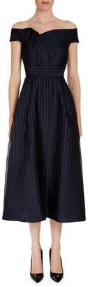 Roland Mouret Bentham Off-the-Shoulder Tea-Length Dress
