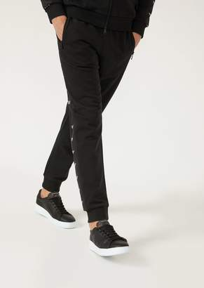 Emporio Armani Lyocell Joggers With Chenille Side Strips