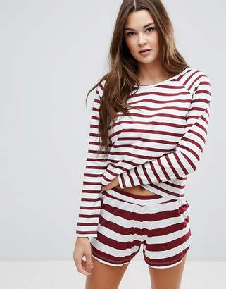 Asos Burgundy Stripe Long Sleeve Tee & Short Pyjama Set