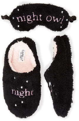 Capelli New York Two-Piece Black Night Owl Eye Mask & Slipper Set