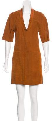 Hermes Lizard-Trimmed Suede Dress
