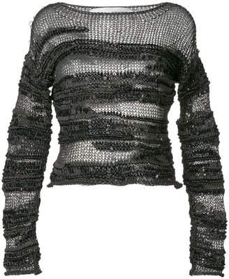 Isabel Benenato sheer patterned sweater