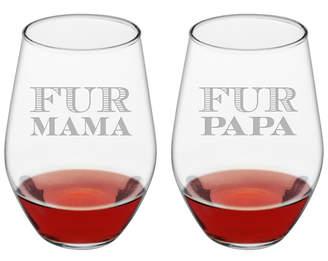 Susquehanna Glass Set Of 2 19Oz Mama & Papa Stemless Wine Glasses