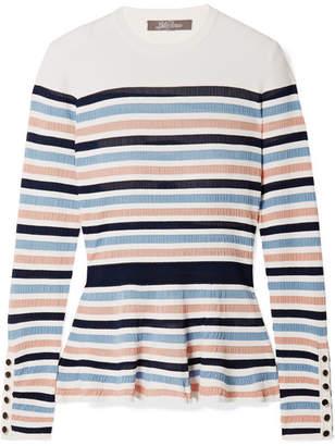 Lela Rose Striped Ribbed Stretch-knit Peplum Sweater - Pink
