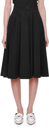 Tomas Maier Pleated A-Line Cotton Midi Skirt w/ Pockets