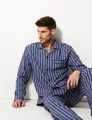 Marks and Spencer Pure Brushed Cotton Striped Pyjama Set
