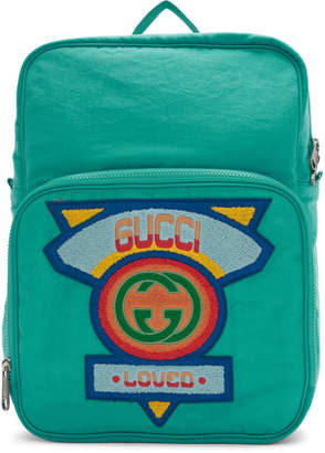 Gucci Blue Large 80s Logo Backpack