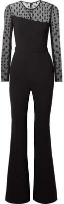 Rachel Zoe Amber Crepe And Swiss-dot Tulle Jumpsuit - Black