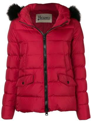 Herno fox fur trim padded jacket