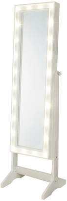 FINE JEWELRY White Cheval Free Standing Jewelry Armoire with LED Lights