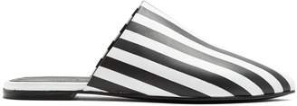 Marques Almeida MARQUES'ALMEIDA Striped point-toe backless leather loafer