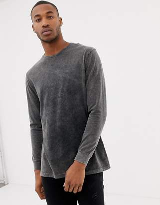 Asos DESIGN relaxed longline long sleeve t-shirt in acid wash