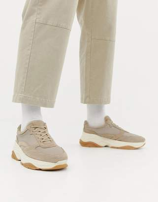 Asos suede sneakers with chunky sole in sand