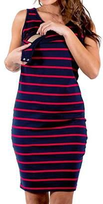 FCYOSO Women's Summer Striped Sleeveless Nursingwear Nursing Tank Dress L