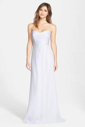Amsale Strapless Crinkle Chiffon Gown