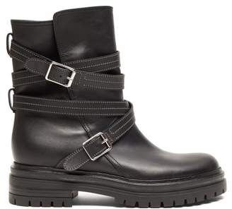 Gianvito Rossi Buckled Leather Biker Boots - Womens - Black