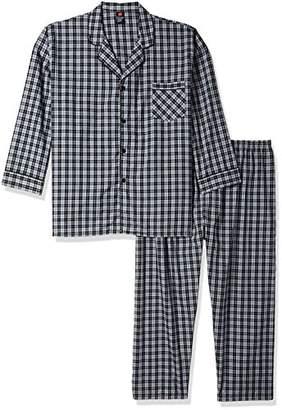 Hanes Men's Big Woven Plain-Weave Pajama Set