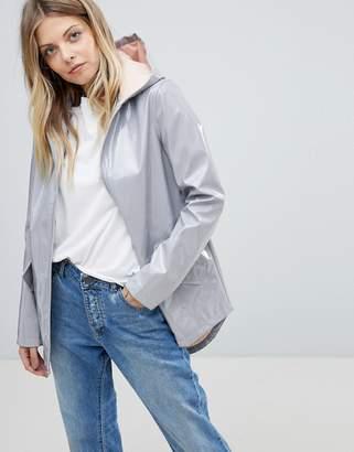 Asos High Shine Rain Jacket with Contrast Hood