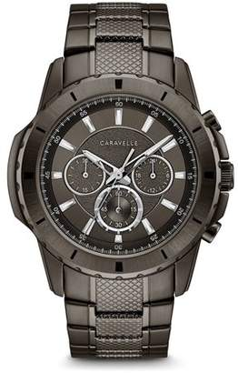 Bulova CARAVELLE Designed by Caravelle Men's Chronograph Gunmetal Stainless Steel Bracelet Sport Watch 48mm