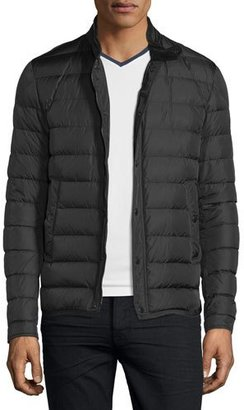 Moncler Hanriot Quilted Down Moto Jacket, Black $1,065 thestylecure.com