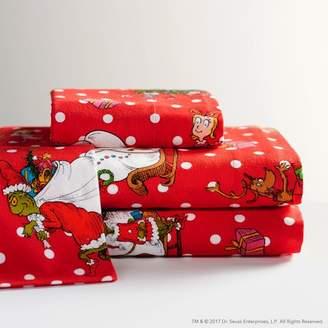 Pottery Barn Teen Grinch & Festive Flannel Sheet Set, Twin/Twin XL, Red