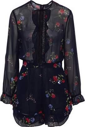Nicholas Primrose Lace-Trimmed Floral-Print Silk-Chiffon Playsuit