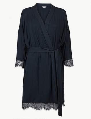 Marks and Spencer Lace Trim Long Sleeve Short Dressing Gown