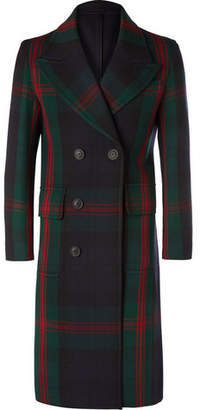 Burberry Double-breasted Tartan Wool Coat