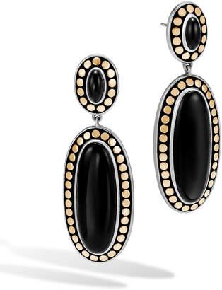 John Hardy Dot Oval Onyx Drop Earrings