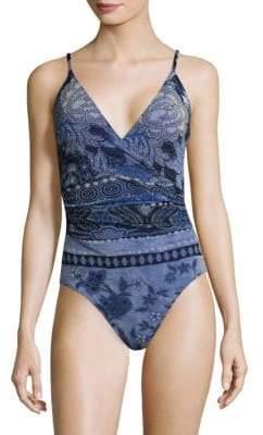 Fuzzi Swim Printed V-Neck One-Piece Swimsuit