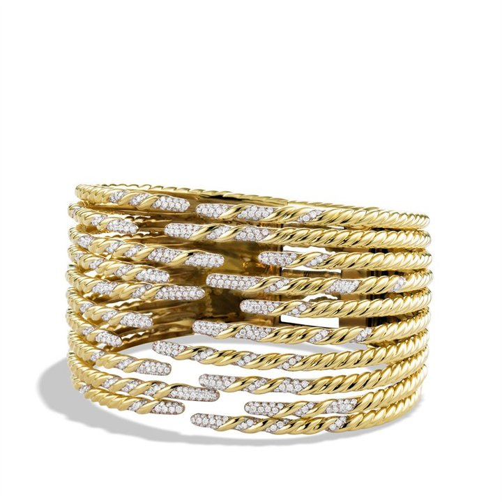 David Yurman Willow Ten-Row Bracelet with Diamonds in Gold