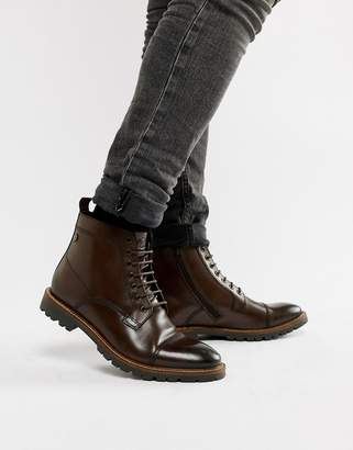 Base London Brigade toe cap boots in brown