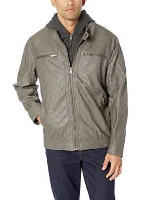 Silver Jeans Men's Moto Faux Leather Jacket with Detachable Hood
